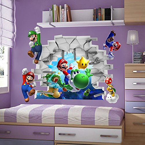 [Nintendo 3D Super Mario & Yoshi Art Kids room decor Break Wall sticker wall decals Mural 19.5
