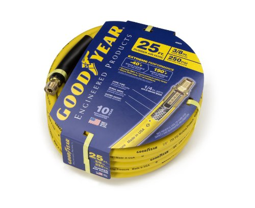 GOODYEAR 46504 3/8-inch by 25-feet 250 PSI Rubber Air Hose With 1/4-Inch MNPT Ends and Bend Restrictors