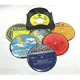Recycled Vinyl Record Drink Coasters Gift Set of 6 with Coaster Caddy