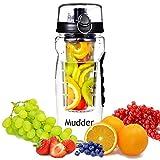 Infuser Water Bottle, Mudder Large 32 Oz Sport Fruit Infused Water Bottle - Enjoy Your Own Vitamin Water, Juice and Sparkling Beverages - BPA Free (Black)