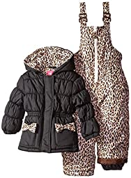 Pink Platinum Baby Girls\' Leopard Printed Snowsuit, Black, 24 Months