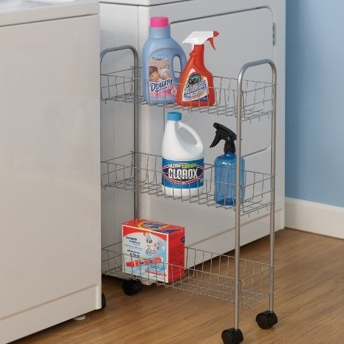 New Slim Washer Dryer Laundry Supplies Rolling Storage