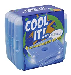 Fit & Fresh Cool Coolers Slim Lunch Ice Packs - Set of 4 (Pack of 2)