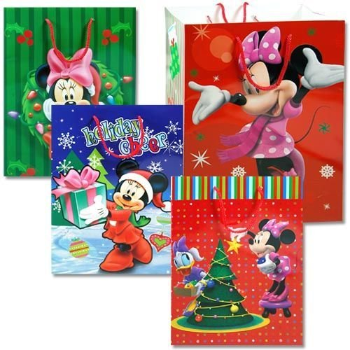 Disney Mickey Minnie & Friends Assorted Christmas Gift Bags (4-Pack)