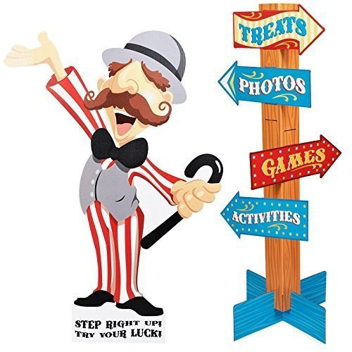 Carnival Man with Direction Sign - 4' Tall by BirthdayExpress by BirthdayExpress (Carnival Man With Direction Sign)