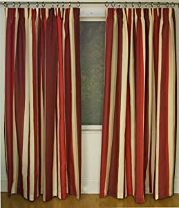 Mali Red Cotton Blend Lined 66x90 Striped Pencil Pleat Curtains #rtsrev *hc* from Curtains