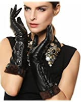Warmen Ladies Elbow Long Plush Lined Nappa Leather Buttons Winter Gloves