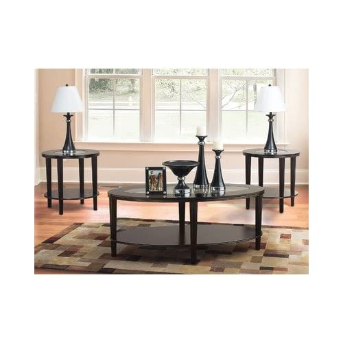 com - Katherine 3 Piece Transitional Occasional Table Set in Merlot