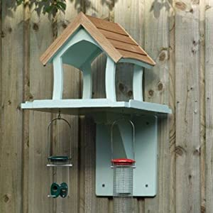 Wall Mounted Bird Table Bird House Hand Made Painted