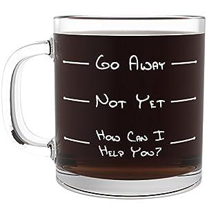 Amazon Com Go Away Funny Glass Coffee Mug Unique Novelty Gift For Coffee And Tea Lovers