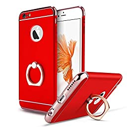 iPhone SE Case,Inspirationc® Ultra-thin 3 in 1 Plastic Hard Skin 360 Degree Rotating Ring Kickstand for Apple iPhone SE/5S/5--Red