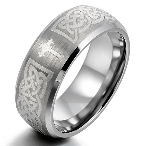 Men'S Tungsten Ring Band Silver Irish Celtic Knot Cross Triquetra Vintage Brushed Size8