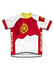 Kyrgyzstan Flag Short Sleeve Cycling Jersey for Women