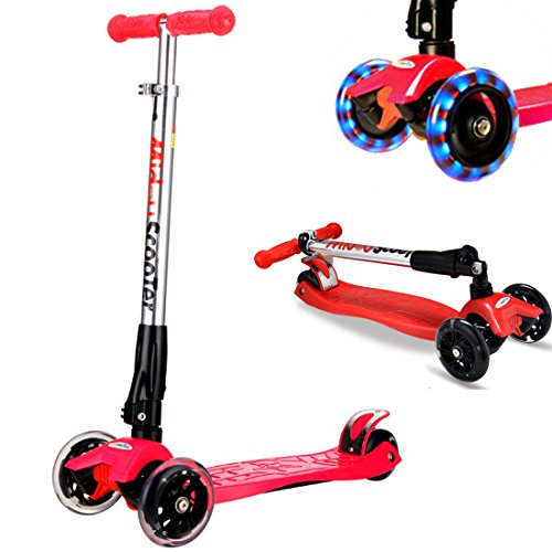Rimable Foldable Maxi Kick Scooter with LED Light up Wheels (Red)