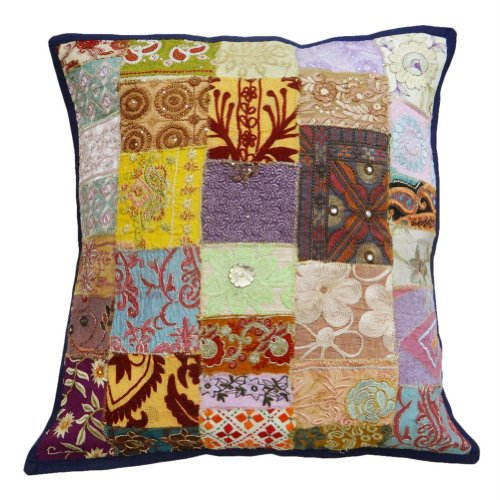 "Embroidered Patchwork Cushion Cover Home Decor Multicolor Couch Indian Pillow Case 20"" Inches front-929468"