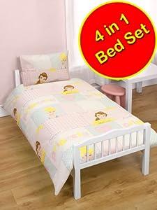 Disney Princess 'Wishes' 4 in 1 Junior Bedding Bundle Set (Duvet + Pillow + Covers)
