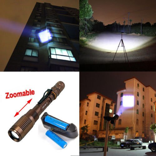 Zoomable Ultrafire 2200 Lumen Cree Xml-T6 Led Flashlight Torch +18650+Charger
