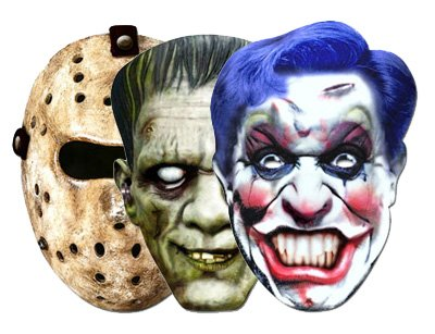 Horror Mask 3 Pack - Hockey, Frankenstein and Clown Masks