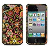 Spot Diamond Rhinestone Green Daisy Flower on Black Design Snap-On Protector Hard Cover Case Compatible for Apple Iphone 4 / 4S (AT&T, VERIZON, SPRINT)