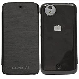 Premium Leather diary style flip cover case for Micromax Canvas A1 Android One - Black