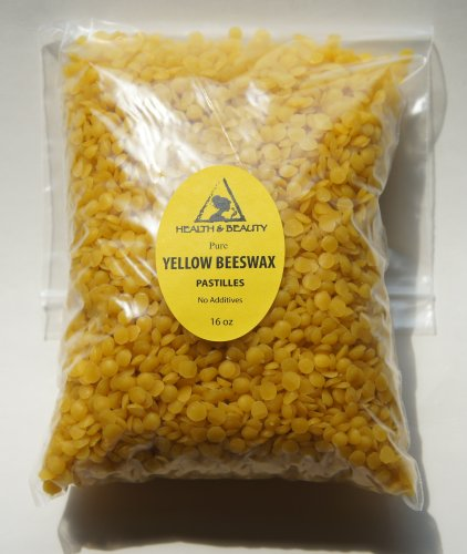 Yellow Beeswax Bees Wax Organic Pastilles Beards Pure 16 Oz, 1 Lb front-852065