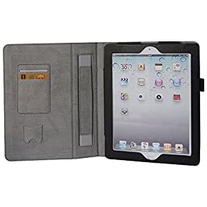 HOKO Black Leather Flip Cover Book Case with Elastic Hand Strap and Card Holder and magnetic closure for Apple iPad 3 (The new iPad) (Auto wake and sleep)