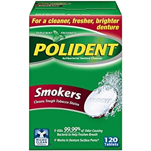 Polident Smokers Denture Cleanser Tablets, 120 Count