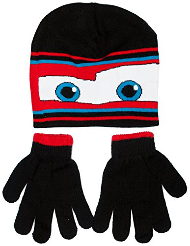 Disney Pixar Lightning McQueen Cars Winter Beanie Hat and Gloves Set, Boys 3+ (Black)