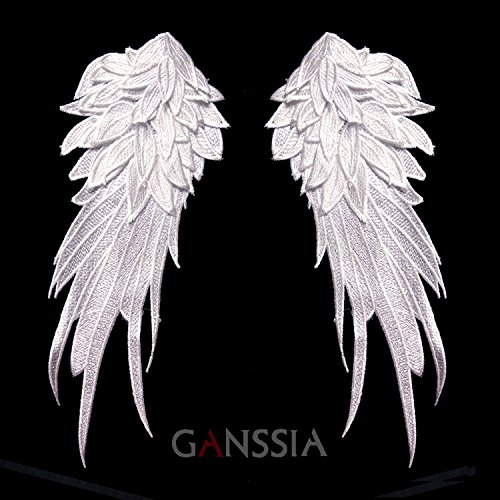 FairyMotion Stylish Embroidered Angel Wings Fabric Patch Shoulder Decorations Venise Lace Sewing Applique For Diy Halloween Costume(Ss-7306) Perfect (Cute Halloween Tombstone Sayings)
