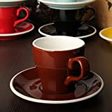 New 180CC Espresso Coffee Cups with Saucer Cappuccino Glaze Cups Yellow