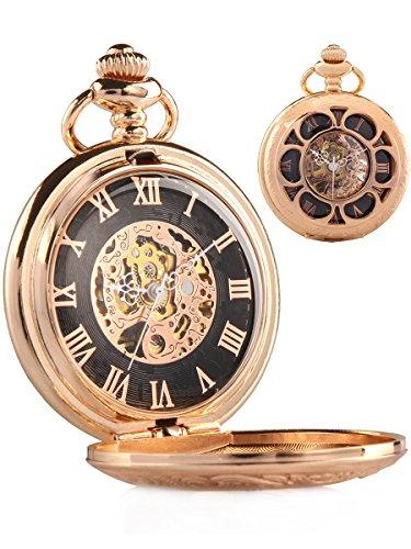 alienwork-retro-mechanical-pocket-watch-skeleton-hand-wind-engraved-champagne-gold-metal-black-rose-