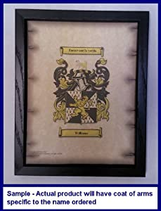 Whetsell Coat of Arms on Aged Parchment Look 8 1/2 x 11 Paper in Black Wood Frame