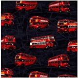 Fat Quarter London Buses Bus on Charcoal Grey Cotton Quilting Fabric - Nutex