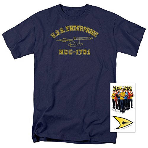 Star Trek USS Enterprise T-Shirt & Exclusive Stickers (Large)