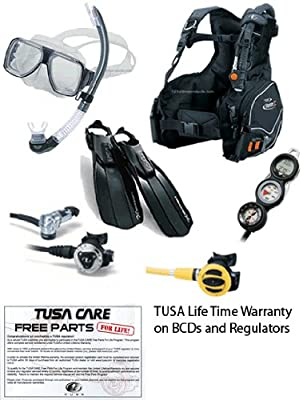 Tusa Economy Dive Essentials Scuba Gear Package With Dive Computer sourcing is TUSA