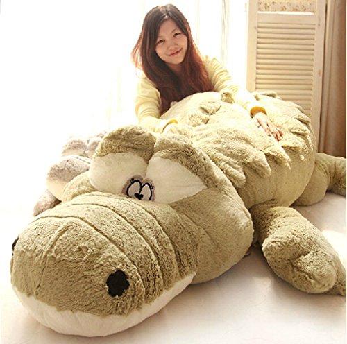 YunNasi 160CM/63'' krokodil Plüschtier kuscheltier Super Groß xxl Kroko stoffspielzeug Bett Deko Plüsch Tier Kissen (Grün)