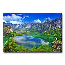 Modern Canvas Painting Wall Art The Picture For Home Decoration Amazing Alpine Lakes, Hallstatt, Austria Landscape Mountain&Lake Print On Canvas Giclee Artwork For Wall Decor