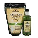 Village Naturals Therapy Aches Pains 2 Piece Set Featuring: Foaming Bath Soak w/ Epsom Salts & Faomin Bath Oil Body Wash (Muscle Relief)