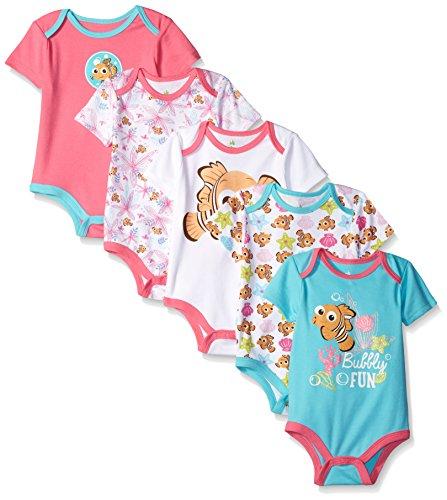 Disney Baby Nemo 5 Pack Bodysuits, Multi/Pink, 12-18 Months