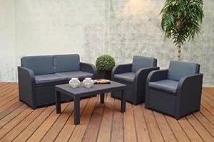 Chalet-Jardin 12SAINTTROPEZ Salon Bas de Jardin PVC Gris Anthracite 129 x 63 x 77 cm
