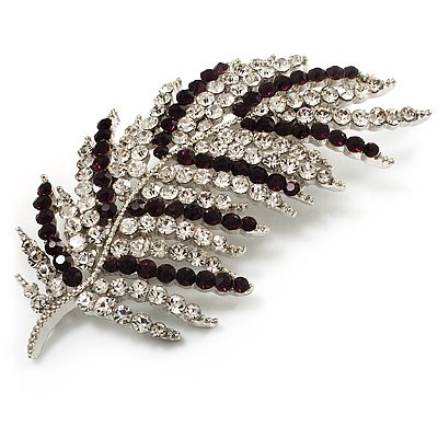 Statement Crystal Leaf Brooch (Clear & Purple)