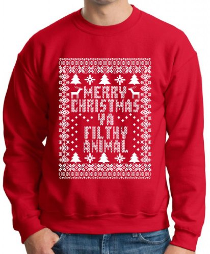 Merry Christmas Ya Filthy Animal Premium Crewneck Sweatshirt 2Xl Red front-937479