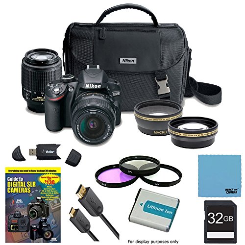 Nikon D3200 Ultimate 4 Lens Experience includes: D3200 Camera, AF-S DX NIKKOR 18-55mm f/3.5-5.6 Lens, 55-200mm F/4-5.6G ED AF-S DX Zoom-Nikkor Lens, Pro .45x Wide Angle Lens w/ Macro, Pro 2X Telephoto Lens Converter, 32GB SD Card, 52mm Filter Set & more