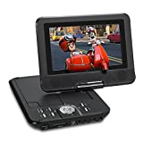 NAVISKAUTO 7 Inch 1024*600 HD Portable DVD/CD/MP3 Player USB/SD Card Reader with 5 Hour Built-In Rechargeable Battery, 270° Swivel Screen, 3m AC/DC Adapter and Customized Car Headrest Mount Case-Black