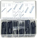 Carbon Steel Slotted Spring Pin Assortment (287 Pieces), Plain Finish, Metric, With Case