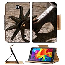 buy Msd Premium Samsung Galaxy Tab 4 7.0 Inch Flip Pu Leather Wallet Case American West Rodeo Cowboy Antique Horse Riding Spur Style Star Shape Spikes Image 25307191