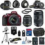 Nikon D5200 Red Camera with Nikon 18-55mm VR Lens Als Variety Premium Bundle + Tamron 70-300mm Lens Gadget Bag + 2pc Filter Kit + 32GB Bandwidth Memory Card + 15pc Accessory Bundle Kit