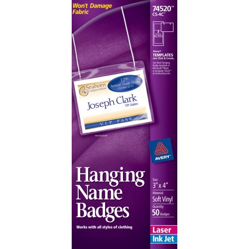 Avery Top-Loading Hanging Name Badges, 3 x 4 Inches, White, Box of 50 (74520)