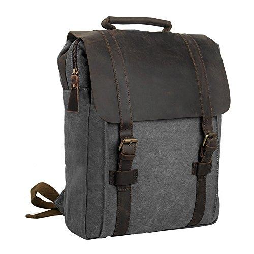 """Canvas Backpack, P.KU.VDSL Laptop Backpack, Vintage Canvas Backpack, Casual Daypacks, Retro Rucksack, Travel Bags, Genuine Leather Shoulder Bag for Men Outdoor Sports Recreation Fit 15"""" Laptop 0"""