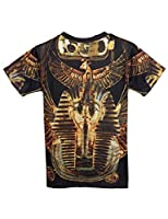 Pink Queen Pullover Round Collar Black Short Sleeves Egypt Pharaoh Print T-shirt